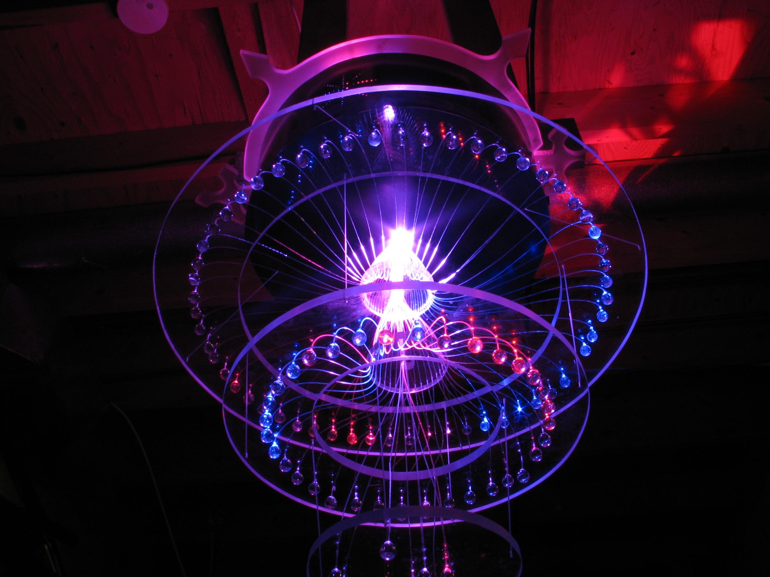 Inside Fiber Optic Chandelier